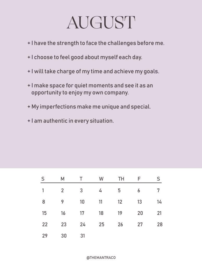 August 2021 Mantra Calendar